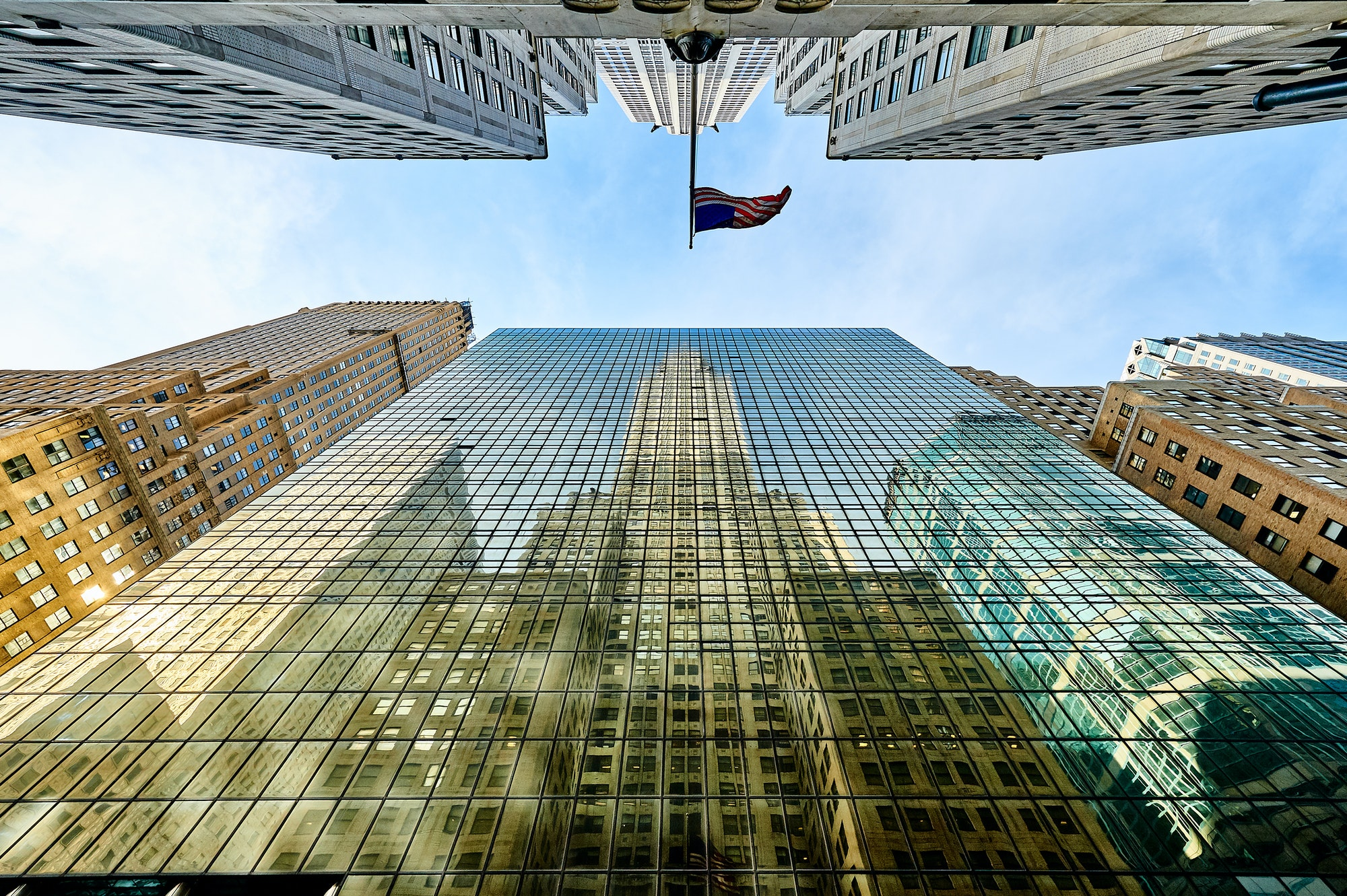 Building reflection in windows of another building in New York
